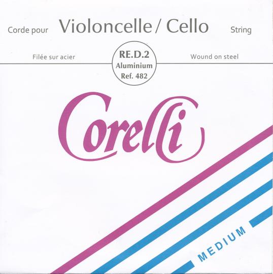 CORELLI  acciaio riv. argento corda RE per violoncello, medium