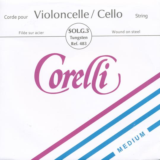 CORELLI  acciaio riv. argento/tungsteno corda SOL per violoncello, medium